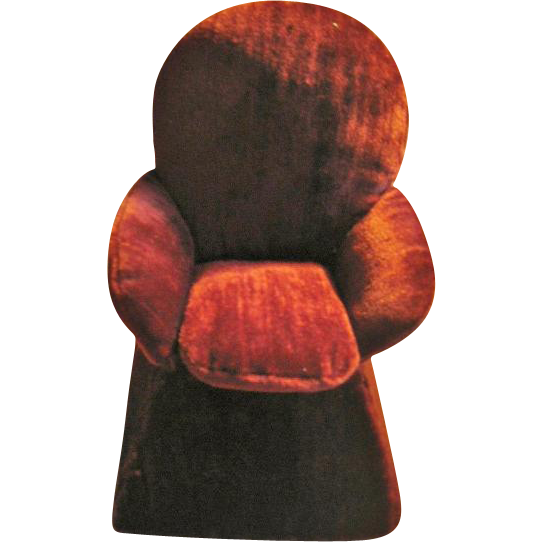 Ginny Size Overstuffed Chair Handmade Sewing Caddy Burgundy Velour