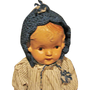 Blue Knit Prairie Style Doll Bonnet