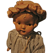 Handmade Peachy-Pink Double Ruffled Edge Doll Bonnet