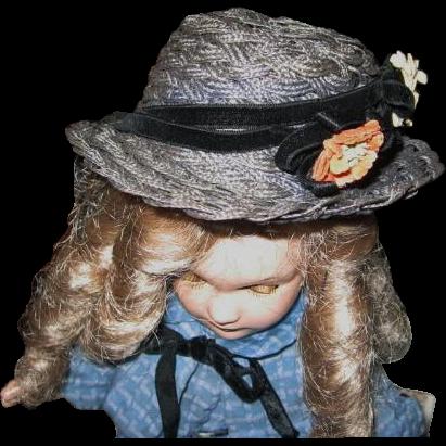 Vintage Woven Blue Straw Fiber Doll Bonnet with Flowers