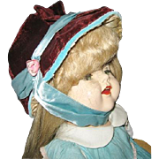 Vintage Burgundy Velvet Handmade Bonnet Fits Saucy Walker Type Doll