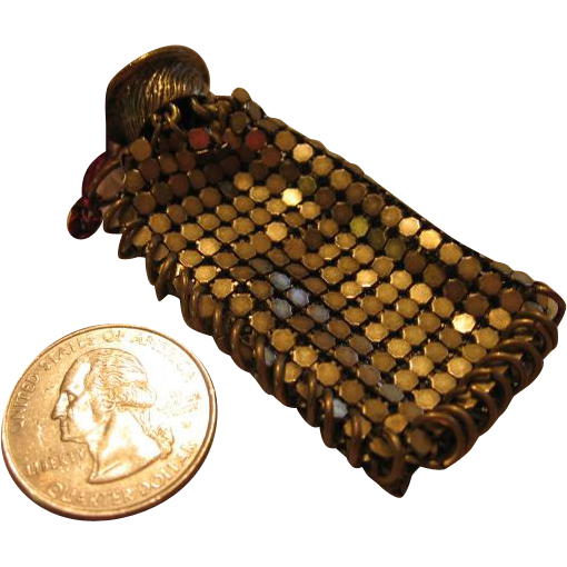 Miniature Gold Tone Metal Mesh Doll Purse