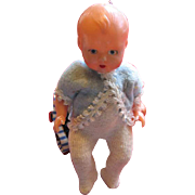 Adorable Plastic Baby Doll in Original Outfit from Italy