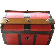 MIniature Red Dome Top Doll Trunk