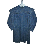 Antique Indigo Calico Dark Blue Toddlers Dress Museum Quality