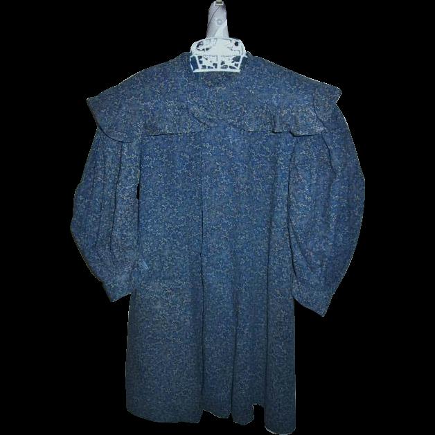 Antique Indigo Calico Dark Blue Toddlers Dress Museum Quality