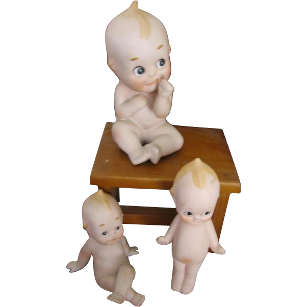 3 Vintage Bisque Hand Painted Kewpies