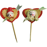 Valentine Spun Cotton Head Lovers or Valentine King and Queen Picks