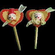 Valentine Spun Cotton Head Lovers or Valentine King and Queen Picks