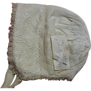 Antique Baby Bonnet Herr Estate Baby's First Bonnet April 1915