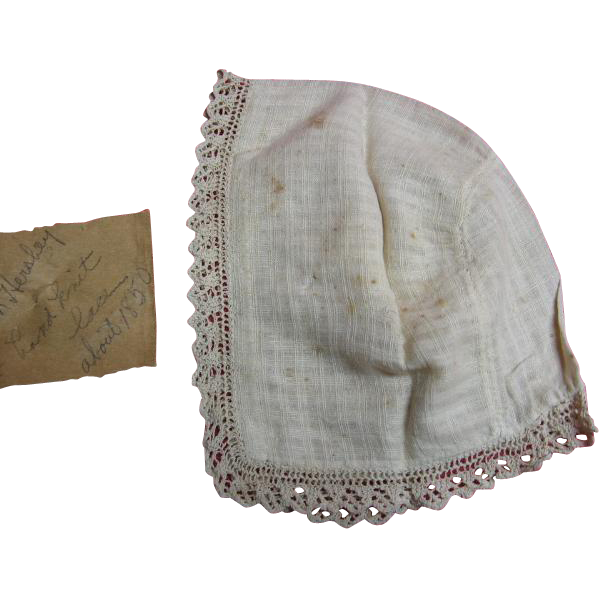 1850s Antique Baby Bonnet Herr Family Estate