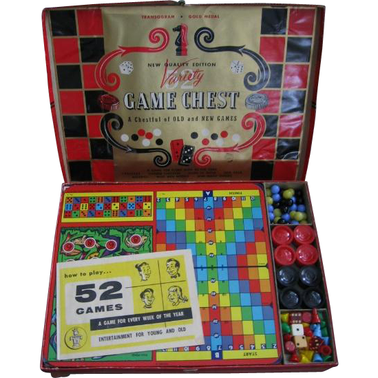 Vintage Variety Game Chest 52 Colorful Games by Transogram Co.
