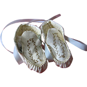 Sweet Cream and Brown Leather Booties for Doll Baby or Teddy