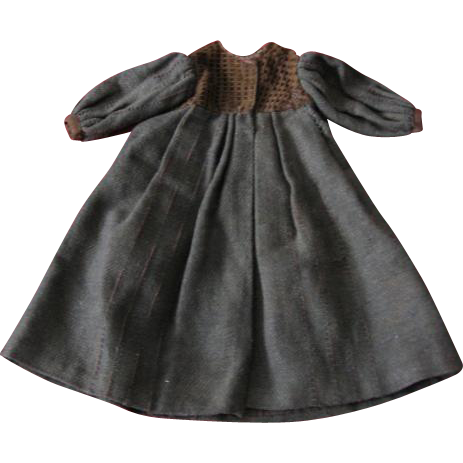 Doll Coat Old Handmade Brown Wool Coat from Early 1900s
