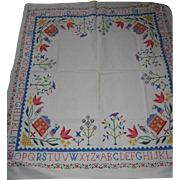 Vintage Kitchen Tablecloth with Sampler Type Design