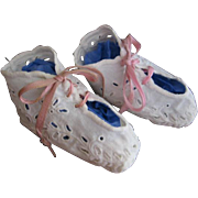 White Eyelet Baby Shoes Broderie Anglaise