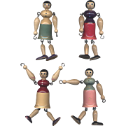 Painted Wooden Dolls with Swinging Arms and Legs