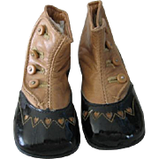 Antique Baby Shoes with Hearts!! Delightful Two Toned Hightop Button Shoes