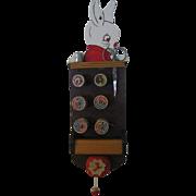Vintage Sewing Caddy Unique Wooden Diecut Bunny Rabbit Design