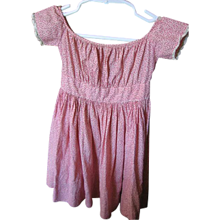 Antique Baby Dress Red Calico Museum Quality