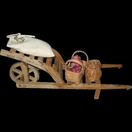 Wooden Toy Handmade Garden Cart Wheelbarrow for Teddy or Doll