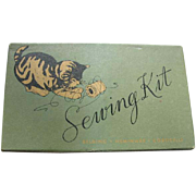 Kitten on Vintage Sewing Kit Box Top