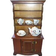 Doll Cupboard Hutch Vintage Toy Wooden Cabinet