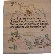 Embroidered Adorable Now I Lay Me Down To Sleep Prayer with Baby Bunnies and Birds (Reserved For Jenn)