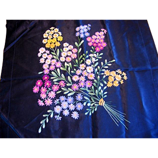 Embroidered Pillow Cover Fabulous Flower Bouquet on Black