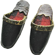 Antique Leather Doll Shoes for French Fashion or China Head