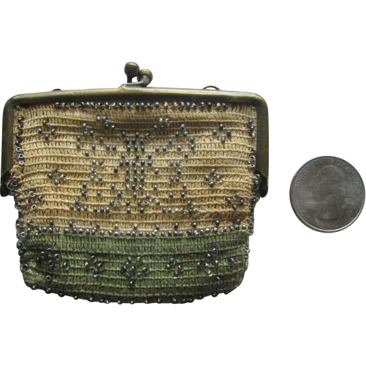 Miniature Beaded Purse with Butterfly
