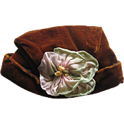Velvet Doll Hat with Big Flower