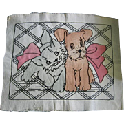 Vintage Vogart Design with Kitten and Pup