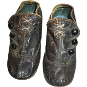 Victorian Era Low Cut 3 Button Leather Baby Shoes