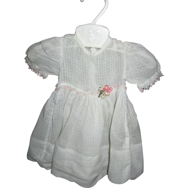 Vintage Doll Dress with Tatting and Flower Bouquet