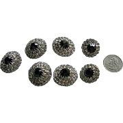 Lovely Rhinestone and Black Glass Buttons