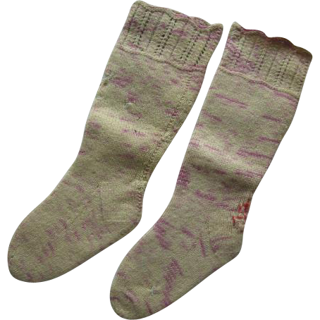 Antique Wool Hand Knit Baby Stockings
