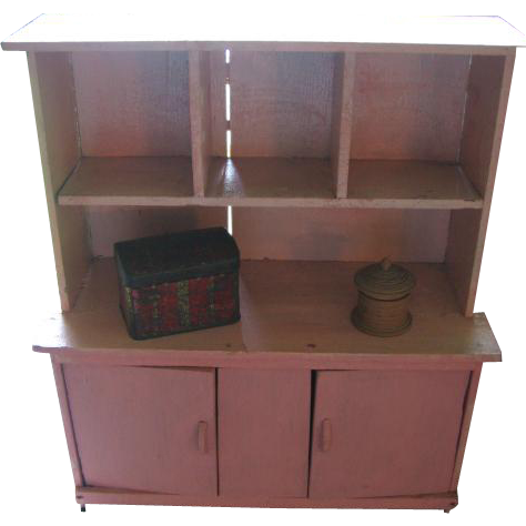 Vintage Painted Doll Hutch Cupboard