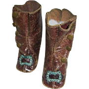 Antique Leather Doll Boots Fancy Shoes