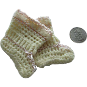 Hand Crocheted Doll Booties with Bonnet and Holder