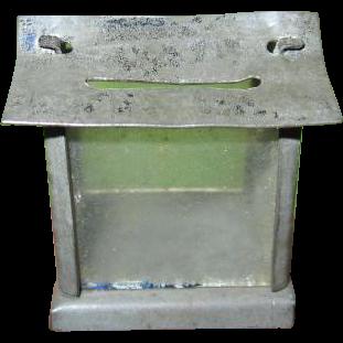 One of A Kind Miniature Handmade Tin Bank Birdhouse Style