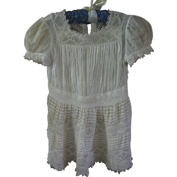 Intricate Irish Crochet and Dotted Swiss Antique Baby Dress