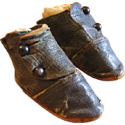 Antique Leather Hightop Doll Baby Shoes