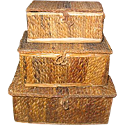 Vintage Stacking Miniature Trunks Doll Display