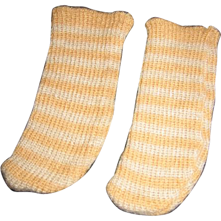 "Antique Boy Wool Doll Socks Hand Knitted Beige Stripe 5"" Awesome"