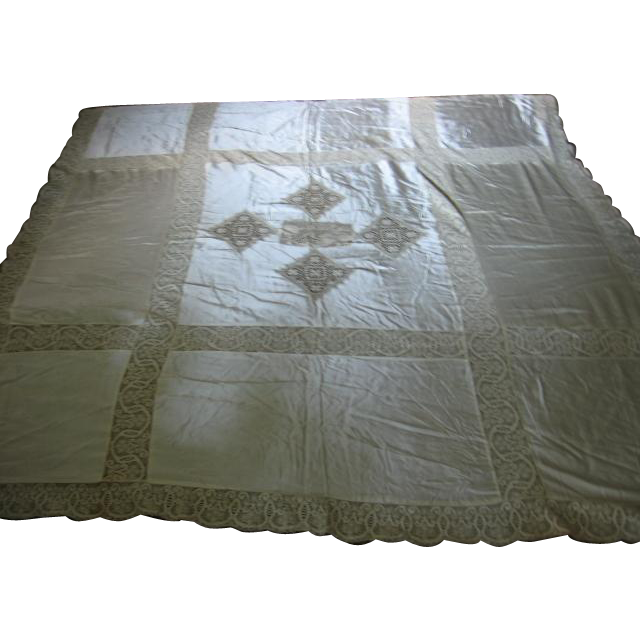 Lovely Vintage Bedspread with Lace Inserts