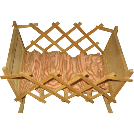Wooden Accordion Crib Cradle for Dolls and Bears