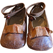 Antique Baby Shoes One Strap with Ribbon Accent