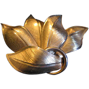 Vintage Coro Wide Leaf Brooch
