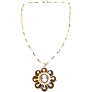Vintage Coro Cameo Necklace with Faux Pearls and Rhinestones